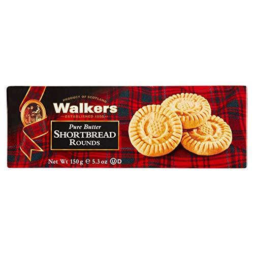 Walkers Pure Butter Shortbread Rounds Product of Scotland / Autentica Tradizione dal 1898 Biscotti Rotondi Scozzesi di Pasta Frolla al Burro - 12 x 150 Gram