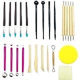 ENGESTON 30 piezas kit de herramientas de arcilla de escultura de modelado de polímeros, herramientas de punteado de arcilla polimérica, bolígrafo, bolígrafos de goma para cerámica de escultura (rosa)