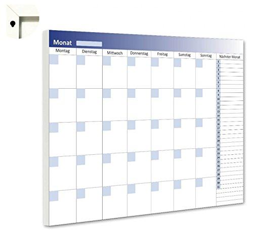 B-wie-Bilder.de maandplanner maandkalender 5 weken overzicht planbord magneetbord weekplanning 80 x 60 cm blauw, wit