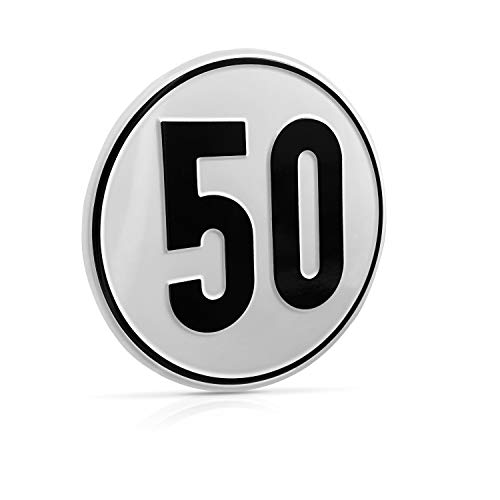 Betriebsausstattung24® Geschwindigkeitsschild für Kraftfahrzeuge | Angaben zur Zulässigen Höchstgeschwindigkeit | Rund | (50 km/h, Aluminium)