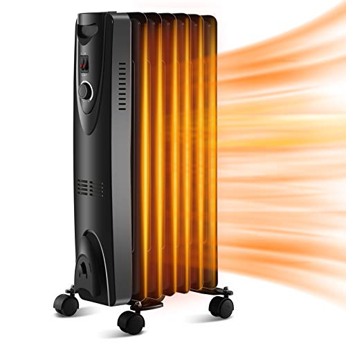 Kismile Oil Filled Radiator Heater with Thermostat, Tip-over & Overheating Protection Safety Oil Heaters, Radiant Portable Electric Space Heater with 3 Heat Settings for Home/Office/Kitchen (Black)
