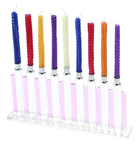 Hanukkah Menorah Pink & Clear Crystal Glass Chanukah Menora