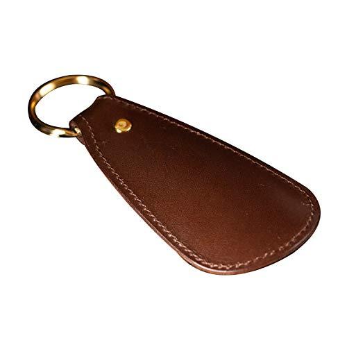 [アム デ マス] 靴べら 栃木レザー 本革 日本製 シューホーン 携帯用 メンズ ハンドメイド 金メッキ リング SH-005 (ブラウン)