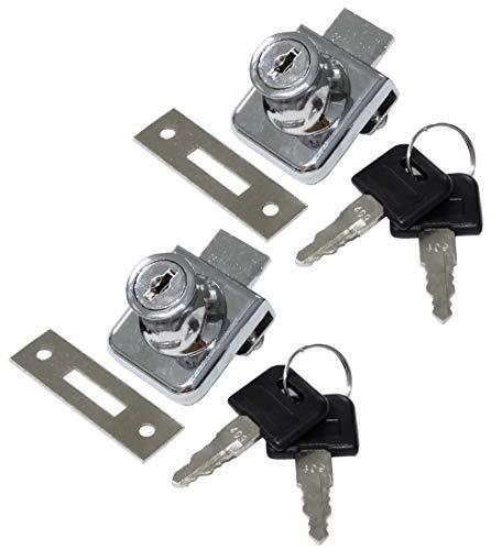 AERZETIX: 2X Cerraduras y Llaves para Puerta de Mueble en Vidrio Cristal Espejo 36/32mm C41394