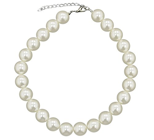 Caprilite 18mm Large Big Giant Faux Pearl Necklace Light Cream Vintage Great Gatsby