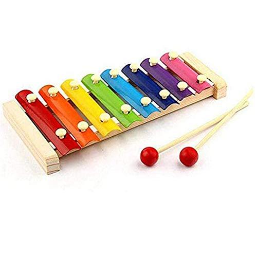 Dufeng speel goed muziek instrument Style Houten Frame Knock Xylofoon Musical voor kinderen Children Eight Piano Tone leuke speelgoed educatief geschenken (Multicolor)