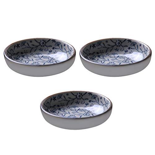 Hemoton Ciotola per salse in ceramica, per antipasti, snack, 3 pezzi, per sushi, soia, salse, ketchup, aceto, spezie, dessert, snack, piccole ciotole