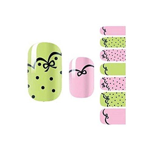 Lot de 3 Pays Style frais Dot Motif Nails Stickers Ongles Art Stickers