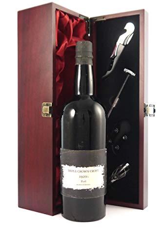 Croft Triple Crown Old Tawny Port 1920's Bottling en una caja de regalo forrada de seda con cuatro accesorios de vino, 1 x 750ml
