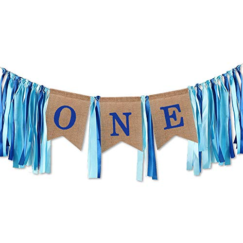 One Banner for 1st Birthday Highchair Decorations, Handmade Burlap Garland with Tassel Tie, Baby Boys Girls First Birthday Party Hanging Decor Photo Booth Backdrop Props