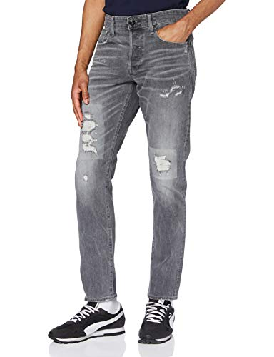 G-STAR RAW 3301 Straight Tapered Jeans, Faded Gravel Grey Restored C293-c287-Reloj de Pulsera, 38W / 36L para Hombre