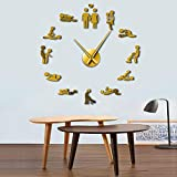Buzdao Game Sexy DIY Decorative Giant Mute Wall Clock Sex Love Position Frameless Large Wall Clock Watch Decor-Gold_37_Inch