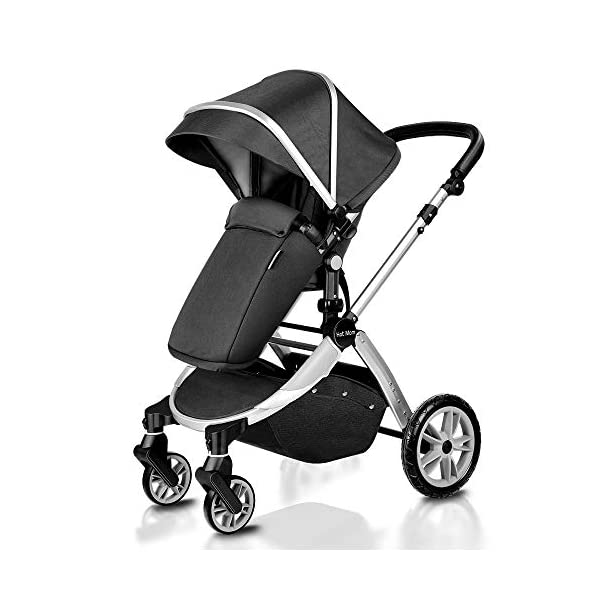 Pushchair 2 in 1,Upgrade Baby Stroller with Independent Seat and Bassinet Combo Pram,Foot muff and Cup Holder 7 Gifts,(Black) HOT MOM INTIMATE SERVICE: FBA prime service,free shipping, 2-year warranty period, accessories parts can be replaced and repaired,180 days unsatisfied full refund.Passed the United States baby stroller Standard Test ASTM F833-15. 7 FREE GIFTS:Stroller seat、bassinet、Rain Cover、mosquito net、Cup holder、Wrist band、car seat adapter.Reversible, you can face your mother, you can also face the outside world. UPGRADED MATERIAL:Say goodbye to Lycra fabric and Oxford fabric,use the upgraded down cotton fabric in the seat,bassinet and canopy design,which is specially designed for the newborn baby's comfort and more skin friendly.Sweet sleep for baby. 4