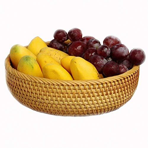 ZTMN Canasta de Frutas Tejida a Mano de Almacenamiento Canasta de Pan de ratán, Comida de Mesa Canasta de Vegetales Redonda de Frutas y Verduras, Canasta Multifuncional (tamaño: L)
