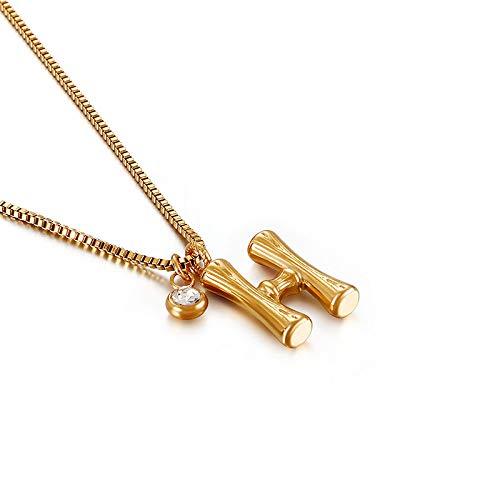 HUITAILANG Collares para Mujer, Alfabeto AZ, Colgante De Collar Personalizado De Diamantes De Bambú Vintage, Gargantilla con Nombre Delicado, Regalo De Joyería De Cumpleaños De San Valentín, H