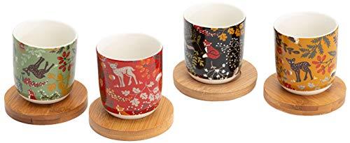 Coffret 4 tasses en porcelaine avec soucoupes en bambou Sous-bois