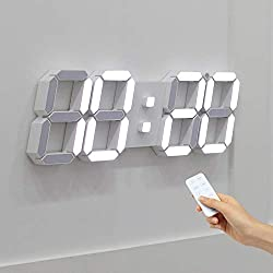 Mooas 3D LED Wall Clock Big Plus White, Wall Clock, LED Clock, Remote Control Alarm Clock