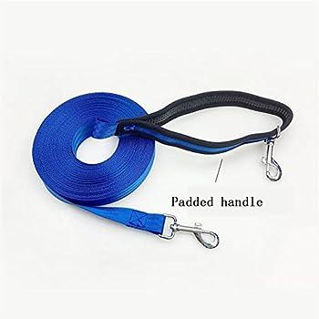 Durable de 10m à 20m Hand Free Nylon Chien de Suivi/entraînement Laisse de Plomb - Long Plomb avec poignée rembourrée Bedience Rappel de Formation Agilité Plomb