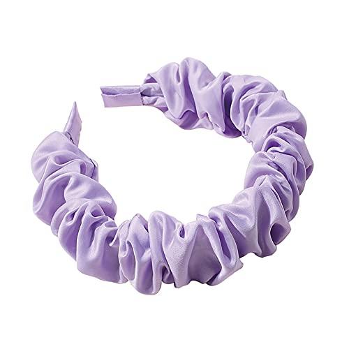 EliteMill Diadema ancha vintage para el pelo, diadema elástica trenzada para niña, accesorios para el pelo, pliegues impresos, seda satinada, ala ancha, para mujer, para el cabello