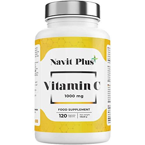 Vitamina C 1000 mg | Código Nacional Farmacia 196883.8 | Para cansancio y fatiga | Fortalece tus defensas | 120 cápsulas vegetales | Navit Plus