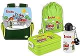 Mein Zwergenland   Personalisertes Kindergartenrucksack-Set, Kinderrucksack, Lunchbox Maxi, Turnbeutel aus Baumwolle, Trinkflasche Happy Knirps Next Print mit Name   Grün   Feuerwehr