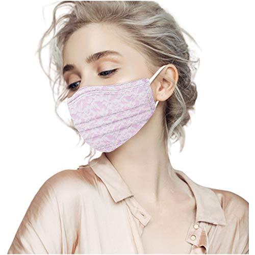 Lulupi 10 Stück Einweg Erwachsene Mundschutz Spitze Blumen Mund und Nasenschutz Elegant Atmungsaktiv Mundbedeckung Bandana Maske Halstuch