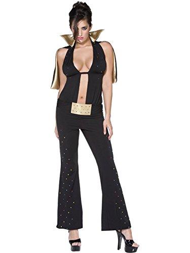 Smiffys Fever Las Vegas Kostüm mit Umhang und Gürtel, Schwarz