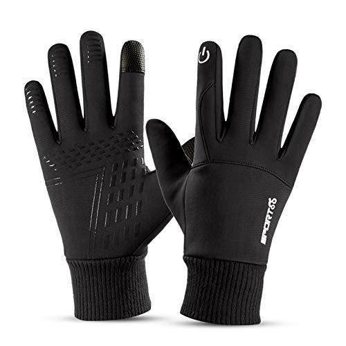 Winter Warme Handschuhe, Winddichte Touchscreen Fahrradhandschuhe, Leichte rutschfeste Sporthandschuhe für Männer Frauen zum Radfahren, Laufen, Bergsteigen, Skifahren (Schwarz)