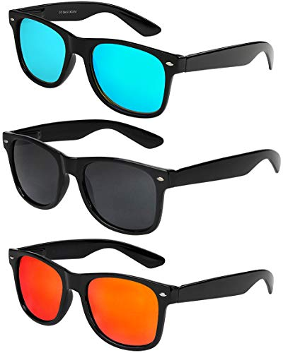 X-CRUZE® 3er Pack Nerd Sonnenbrillen Unisex Herren Damen Männer Frauen Brille Nerdbrille Retro Vintage - schwarz - Set E -