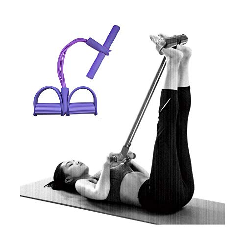 IUAQDP Elastic Pull Rope Resistance Bands 4-Tube Natural Latex Sit-up Bodybuilding Auxiliary Equipment Yoga Stretching Slimming Training,Purple