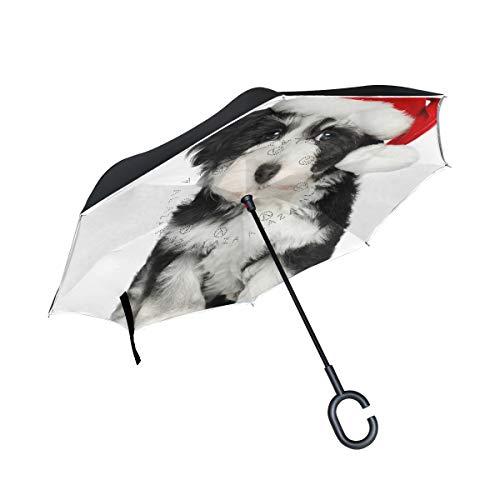 Paraguas reversible con diseño de cachorro de perro con gorro de Navidad, tamaño grande, doble capa, para exteriores, lluvia, sol, coche, con mango en C para protección UV, impermeable, resistente al viento