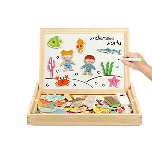 SXZHSM-Intellectuele ontwikkeling speelgoed Children's Tekening Board Magnetische Spelling Muziek Strand Marine Vissen Puzzel Baby Bouwstenen Speelgoed 22.5x29.5x3.2cm
