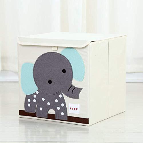 Caja De Almacenamiento De Juguetes para Bebés Lavable, Caja De Almacenamiento De Tela Plegable para Niños, Caja De Almacenamiento De Ropa De Tela Oxford con Tapa 34 * 34 * 34cm A