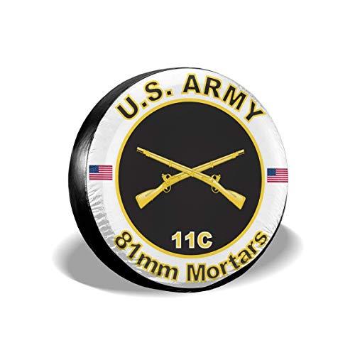 LYMT Army MOS 11C 81mm Mörser Ersatzreifenabdeckung wasserdichte staubdichte Universal-Radabdeckungen Passend für Anhänger RV SUV 15-17 Zoll