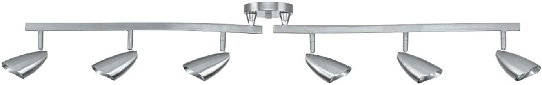 Globe Electric 59062 Grayson 6-Light S-Shape Track Lighting, Brushed Steel, Bulbs Included