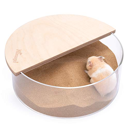 Niteangel Small Animal Sand-Bath Box: - Acrylic Critter's Sand Bath Shower Room & Digging Sand Container for Hamsters Mice Lemming Gerbils or Other Small Pets (Circle, Birch-Wood)