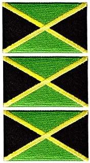 Tanto Badges Paquete de 3 parches bordados con la bandera de Jamaica Reggae para coser o planchar cada uno de 65 mm x 40 mm