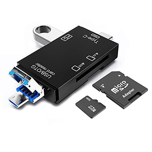 Lector de Tarjetas SD, Seminer 3 en 1 USB C / Micro / Lector de Memoria USB Visor de cámara SD Micro SD SDXC MMC OTG Adaptador Compatible para MacBook Computadora Tablet Teléfono Android
