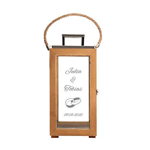 Casa Vivente Romantische Holzlaterne mit Gravur zur Hochzeit, Personalisiert mit Namen, Datum und Ringe, Dekoratives Windlicht als Hochzeitsgeschenk