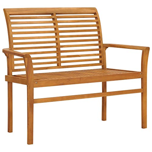 vidaXL Solid Teak Wood Garden Bench with Waterbase Finish Smooth Appearance Outdoor Park Flat Arm Chair Seating Furniture 112cm