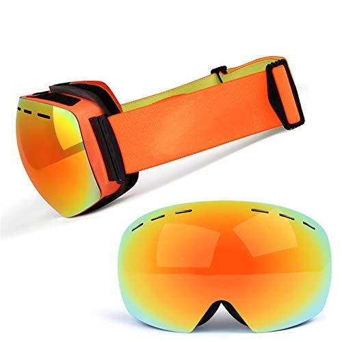 XDKS Gafas de esquí para snowboard con protección UV, antivaho, para hombres y mujeres, gafas de esquí para jóvenes, gafas de snowboard para hombres, mujeres y jóvenes (naranja y rojo)