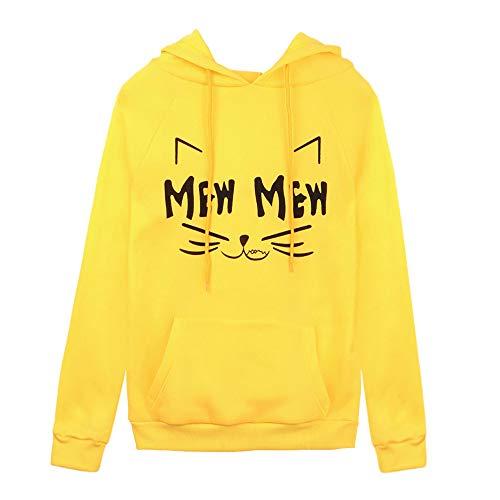 en promo, Femmes Sweat à capuche Toamen Automne et hiver Sweat-shirt Imprimé à manches longues poche Chemisiers Top (L, Jaune)