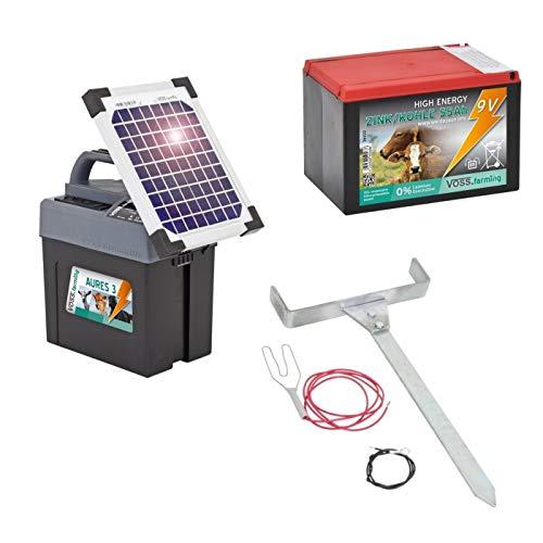 VOSS.farming Duo Weidezaungerät Premium SOLAR – 12V, 9V inkl. Batterie, Solar, komplettes Zubehör zum Anschluss – Sparen Sie sofort Geld