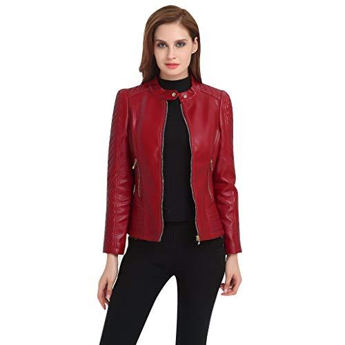 Damen Frauen Lederjacke Herbst Winter Oversize Übergangsjacke Mantel Kurze Cardigan Große Größe Casual mit Zip Outdoorjacke Blouson URIBAKY