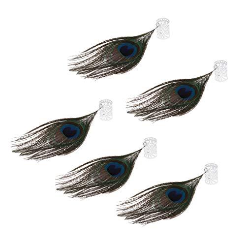 Hellery 5pcs Perles à Dreadlocks en Tube avec Pendentif en Forme de Paon, Maintien des Cheveux, Décoration des Cheveux, Tressage, Bijoux pour Cheveux