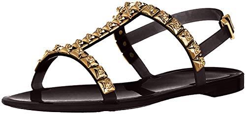 Stuart Weitzman Women's JELROSE Flat Sandal, Black Jelly, 10 Medium US