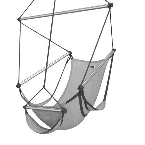 CrazyChair® ONE Hängesessel Outdoor - Hängestuhl 365 Tage wetterfest - Hängeschaukel 150kg TÜV geprüft - Schaukelsessel für Garten, Balkon & Indoor - Hängesitz Hanging Chair (Edelstahl, Platin)