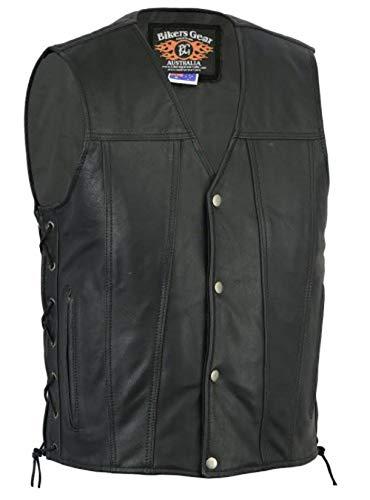Bikers Gear Australia limitée Premium 1,3 mm souple en cuir de vache Harley Style Gilet réglable avec dentelle côtés et poches, noir, taille XL