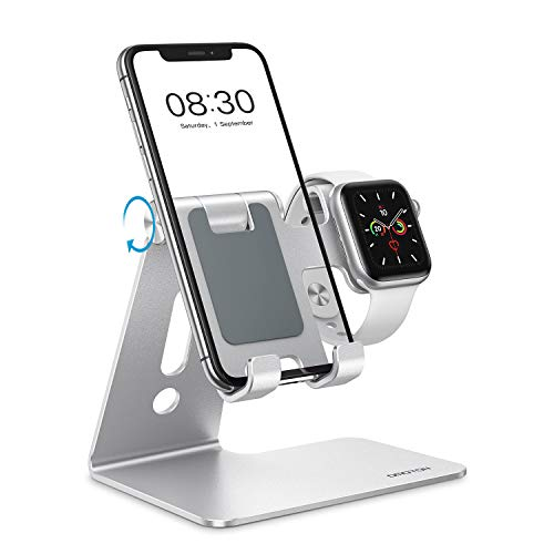 OMOTON 2 in 1 Supporto per Apple Watch, Supporto Regolabile Scrivania per iWatch e iPhone, Dock per Apple Watch SE/6/5/4/3/2/1(38 mm/40 mm/42 mm/44 mm), Porta per iPhone 12, SE 2020, 11, XS, Argento