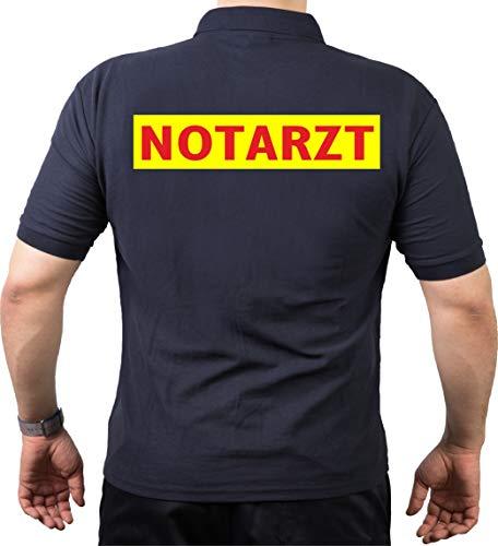 FEUER1 Poloshirt Navy, Notarzt rot Neongelb L